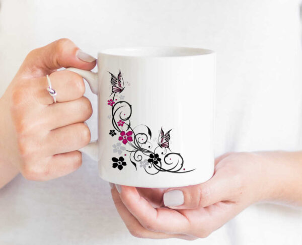 Floral Butterfly Coffee Cup